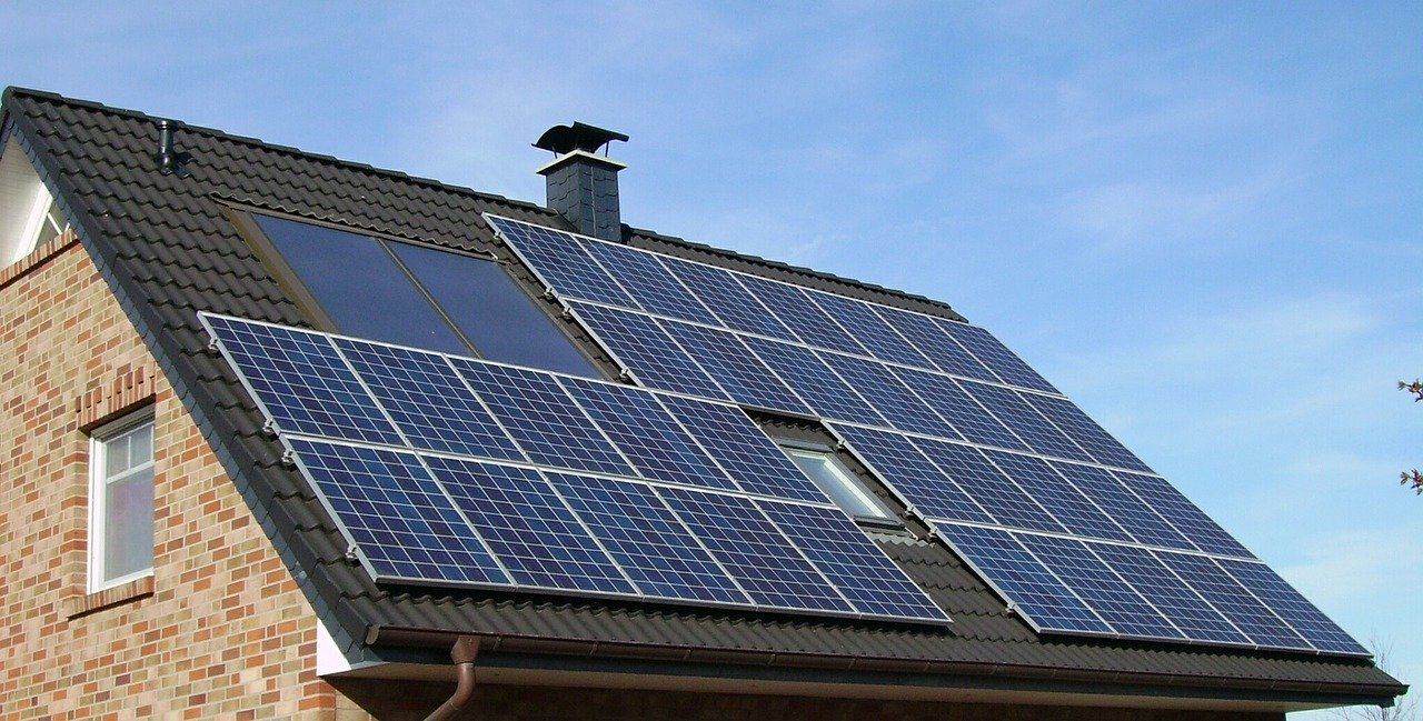 solar panel array, roof, home